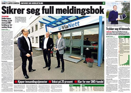 ViaNett kjøper Sendega - finansavisen